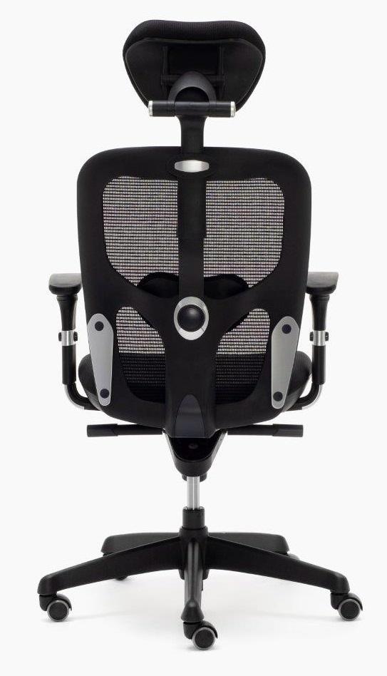 Silla Boston sincro con brazos regulables color negra respaldo con apoyo lumbar