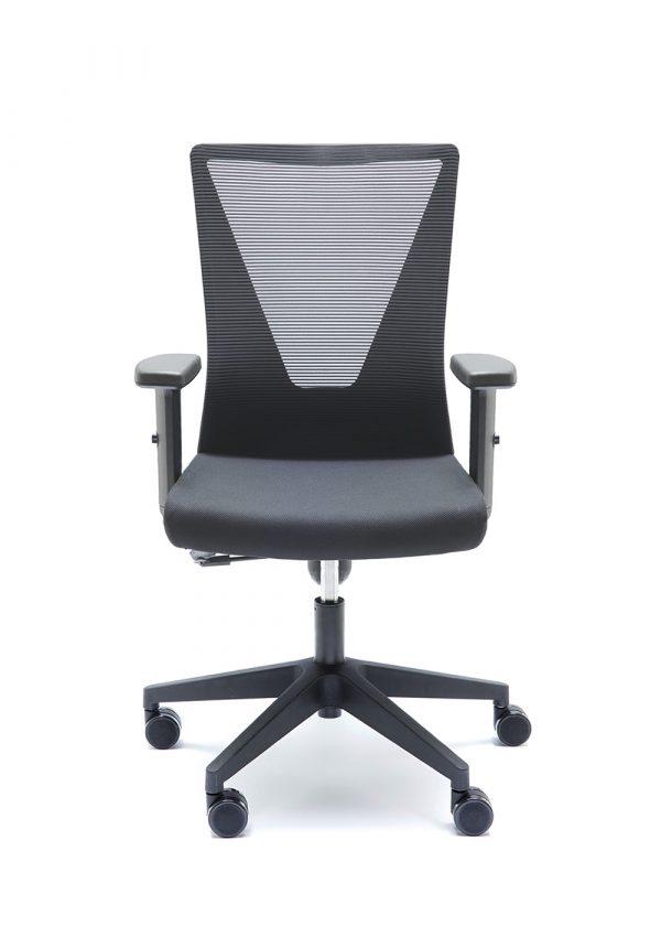 Silla TIrana negra respaldo en malla negra asiento tapizado en negro