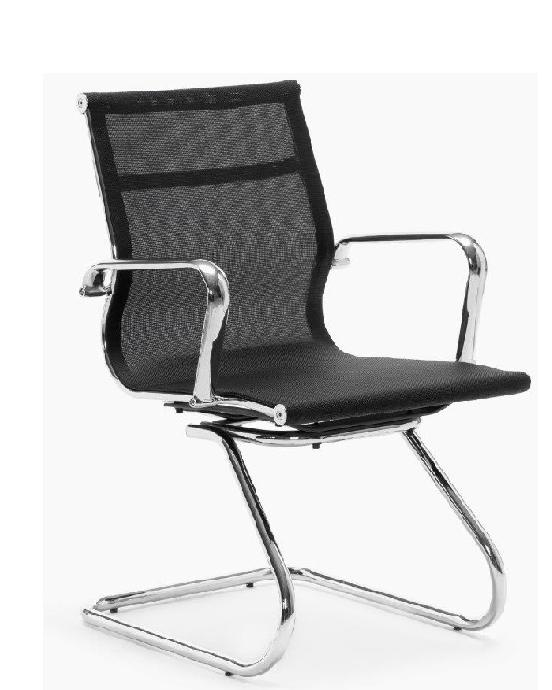 Sillon Berlin malla negra base patin cromado