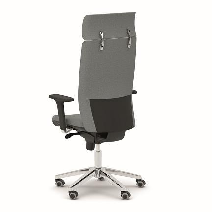 sillón armony 1 respaldo alto con cabezal base aluminio
