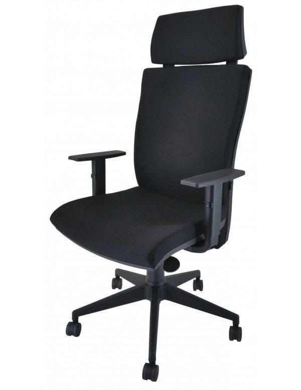 sillón neus cabezal tapizado negro