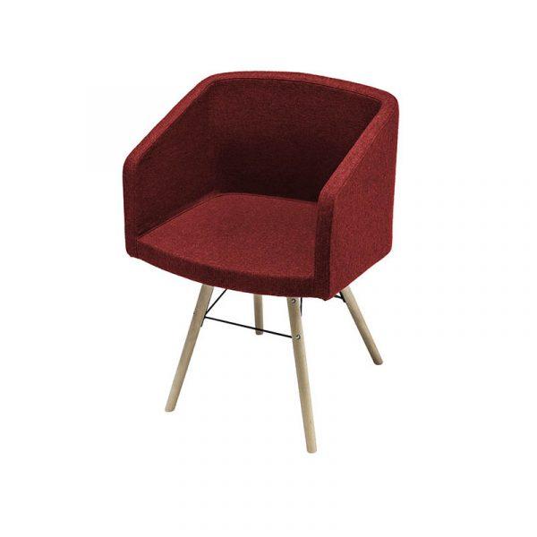 SILLA ODET, BUTACA tapizada y patas en madera y asiento tapizado