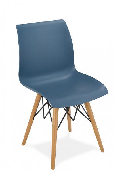 Silla 1710 color azul 4 patas de madera