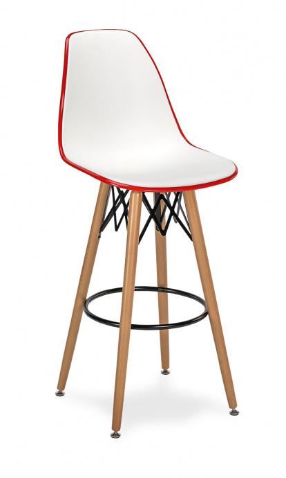 Taburete M 5700 asiento en polipropileno blanco y rojo 4 patas madera color natural