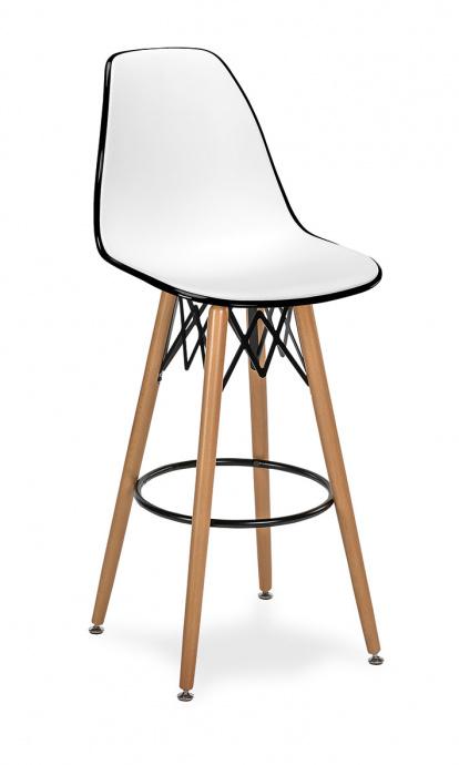Taburete M 5700 asiento en polipropileno blanco y negro 4 patas madera color natural