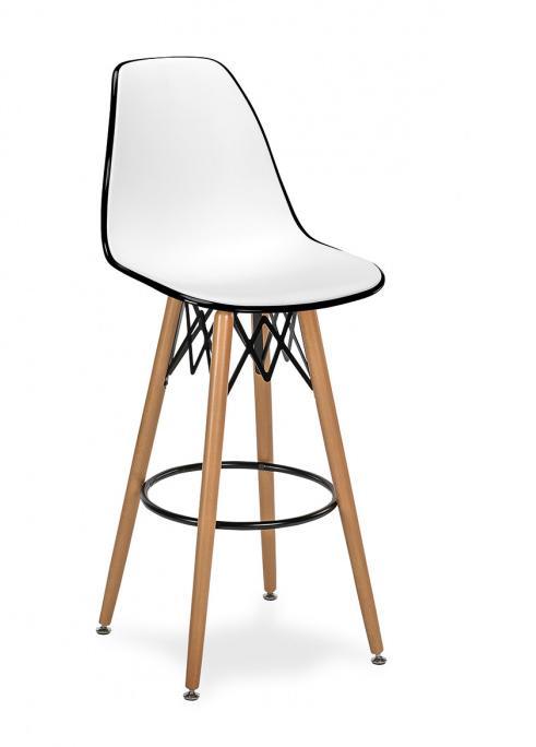 Taburete M 5700 asiento en polipropileno blanco y negro patas madera color natural