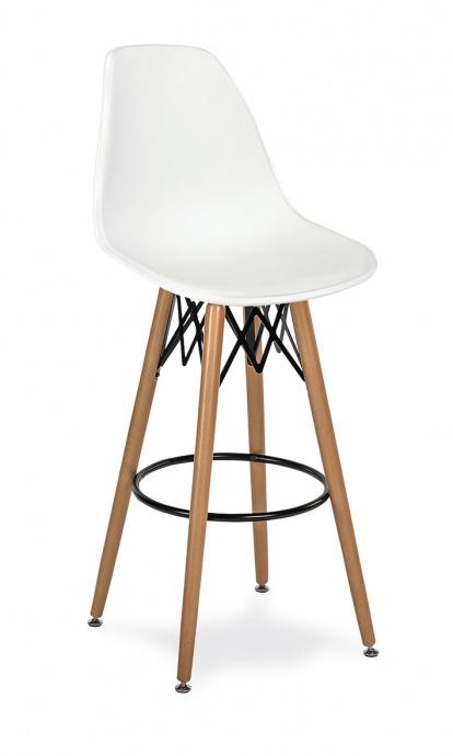 Taburete M 5700 asiento en polipropileno blanco y patas madera