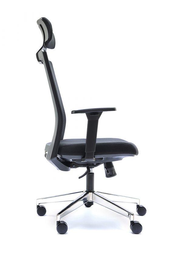 Silla NIZA B CB con cabecero respaldo negro asiento tapizado en color negro