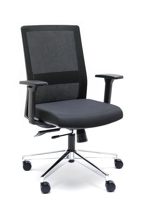 Sillas NIZA B respaldo en malla negra asiento tapizado negro